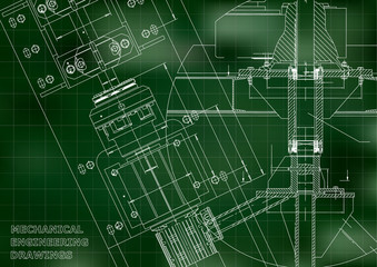 Blueprints. Mechanical engineering drawings. Technical Design. Cover. Banner. Green. Grid