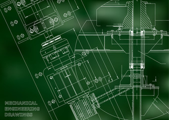Blueprints. Mechanical engineering drawings. Technical Design. Cover. Banner. Green