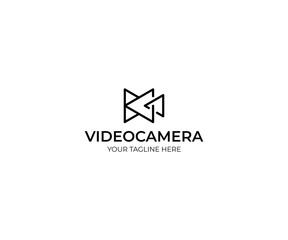 Triangle Video Camera Logo Template. Camcorder Vector Design. Geometric Illustration