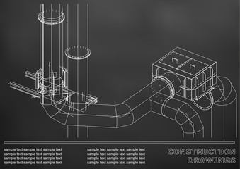 Construction drawings. 3D metal construction. Pipes, piping. Cover, background for text. Black