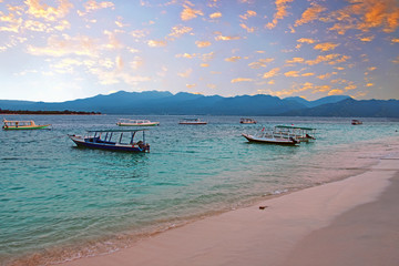 Traditional boats on Gili Meno in Indonesia Asia