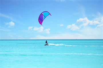 Kite surfing at Aruba island in the caribbean sea