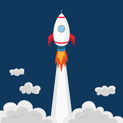 Flying rocket. Business concept startup or launch.