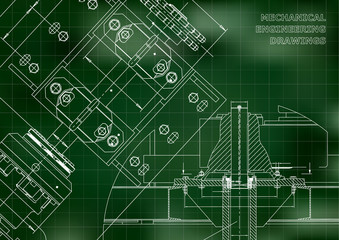 Engineering backgrounds. Technical Design. Mechanical engineering drawings. Blueprints. Green. Grid