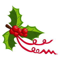 Holly berry with three leaves and a red ribbon. Christmas symbol. Vector element decorations for Christmas isolated on a white background. Cartoon icon.