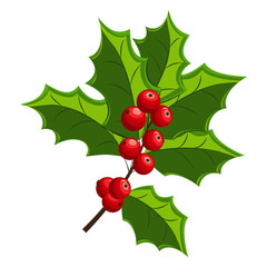 Holly Berry Christmas symbol. Vector branch with leaves isolated on a white background. Element for holiday decorations. Cartoon icon.