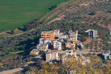 View from Mount Tabor to some buildings at Kfar Tavor in Israel