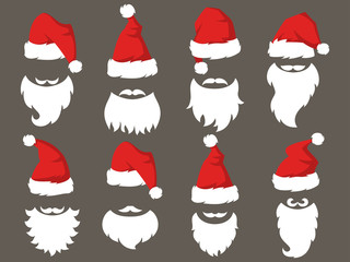 Set of Red hats and beards of Santa Claus.