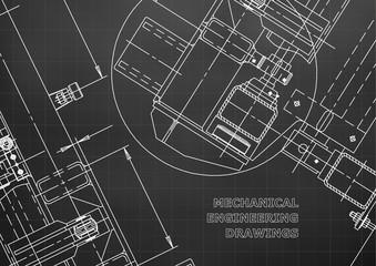 Mechanical Engineering drawing. Blueprints. Mechanics. Cover, background, banner. Black. Grid