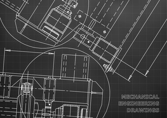 Mechanical Engineering drawing. Blueprints. Mechanics. Cover. Engineering design. Black. Grid