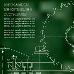 Mechanical engineering drawing. Vector. Green. Points