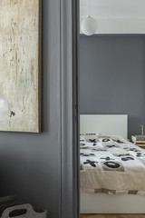 Gray wall and bedroom