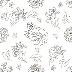 Seamless pattern with spring flowers. Cover, background. Black and white