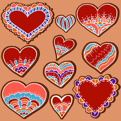 Sketch, stickers, pins. Heart. Hand drawing. Gingerbread Cookie