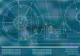 Vector drawing. Mechanical drawings. Engineering  background. Blue. Grid