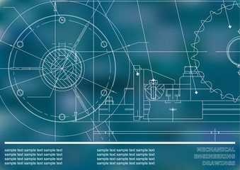Vector drawing. Mechanical drawings. Engineering  background. Blue