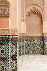 Colorful, detailed architecture in Marrakech, Morocco