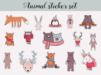 colorful christmas and winter animal sticker set