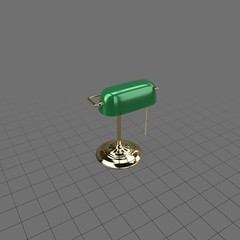 Desk lamp with green shade