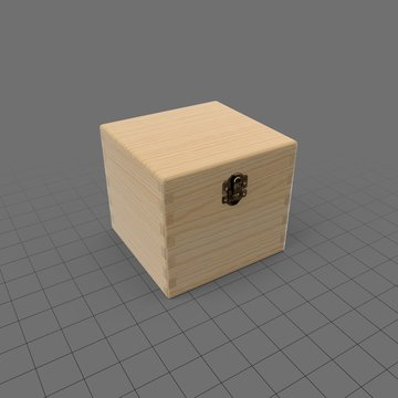 Natural wood box with latch