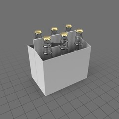 Six pack of bottles in holder
