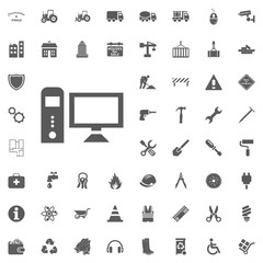 Pesonal Computer icon. Construction and Tools vector icons set