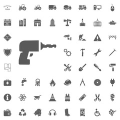 Drill icon. Construction and Tools vector icons set