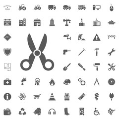 Scissors icon. Construction and Tools vector icons set