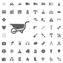 Wheelbarrow icon. Construction and Tools vector icons set