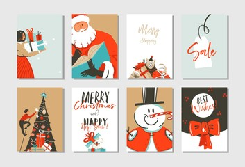 Hand drawn vector abstract Merry Christmas and Happy New Year time cartoon illustration greeting cards template collection set with xmas tree,Santa Claus,snowman and dogs isolated on white background