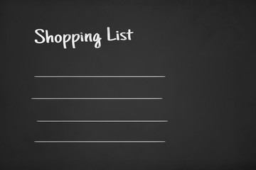 Shopping List Text on Chalk Board