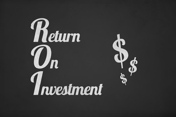 Return on Investment Text with Dollar Symbols on Chalk Board
