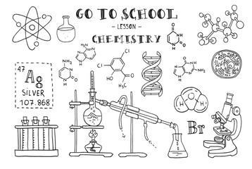 Chemistry. Hand sketches on the theme of Chemistry. Vector illustration.