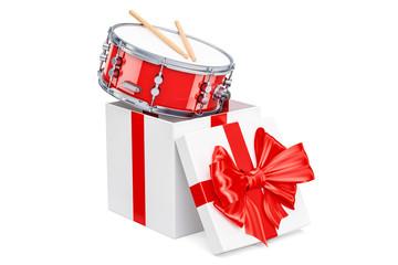 Drum inside gift box, gift concept. 3D rendering