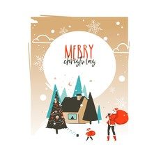 Hand drawn vector abstract Merry Christmas and Happy New Year time cartoon illustrations greeting card template with outdoor landscape,house and Santa Claus family isolated on white background