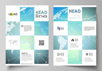 The vector illustration of the editable layout of A4 format covers design templates for brochure, magazine, flyer, booklet, report. Chemistry pattern, molecule structure, geometric design background.