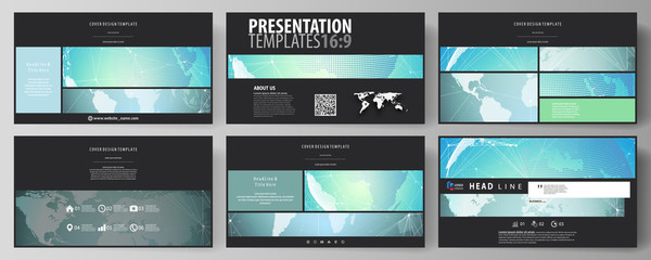 The black colored minimalistic vector illustration of the editable layout of high definition presentation slides design templates. Chemistry pattern, molecule structure, geometric design background.