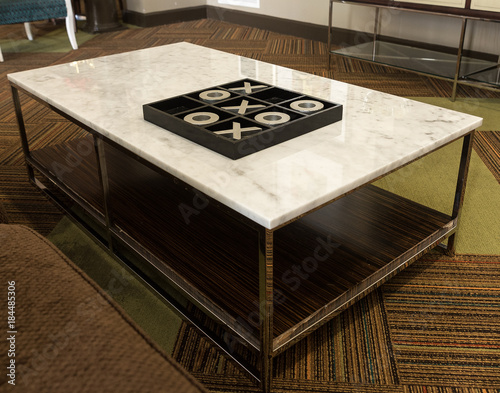Coffee Table With Decorative Tic Tac Toe Board
