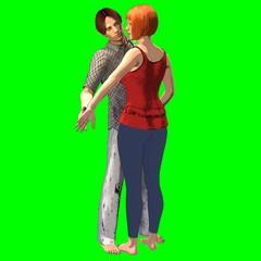 Coppia di innamorati in stile fumetto su sfondo chroma key