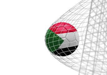 Sudan flag soccer ball scores a goal in a net