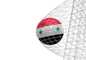 Syria flag soccer ball scores a goal in a net