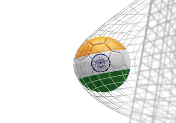 India flag soccer ball scores a goal in a net