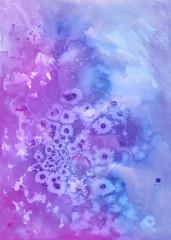 Texture sfondo acquerello viola e blu con macchie di sale