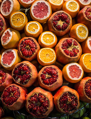 Pomegranate, oranges and grapefruit at the street market in Istanbul, Turkey