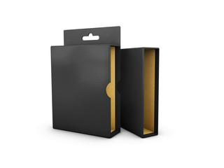 3d Illustration of Black box on a white background