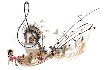 Coffee music. Abstract treble clef decorated with musicians and cafe window. Hand drawn vector illustration.