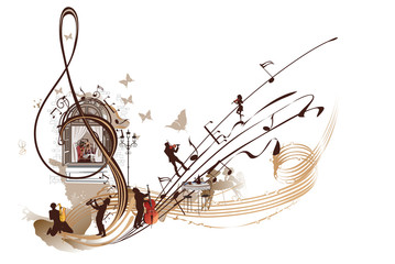Abstract Treble clef with musicians and notes.