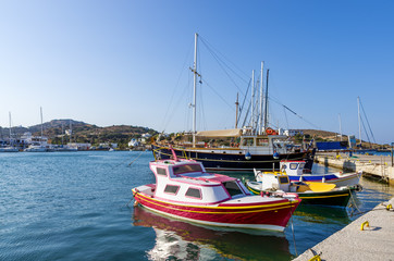 Pretty little fishing boats in the harbor of Lipsi island, Dodecanese, Greece