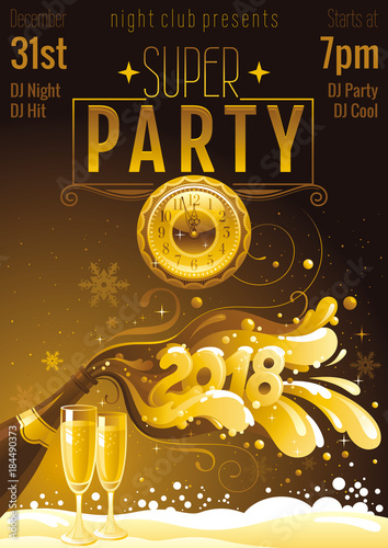 new year 2018 vector banner with sparkling champagne bottle bubbles vintage clock