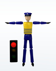 Vorfahrtsregelung durch einen Polizisten: Halt mit roter Ampel.